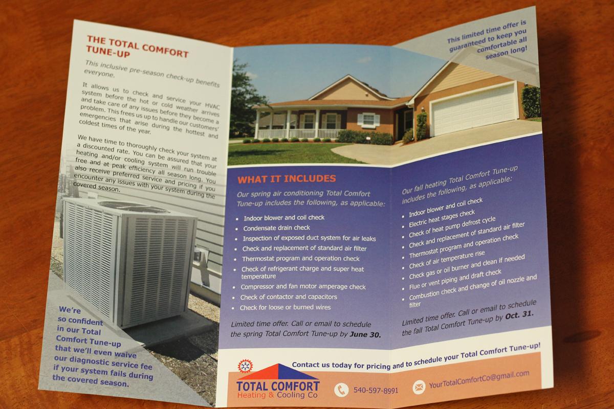 trifold brochure design for hvac business pamphlet design radford
